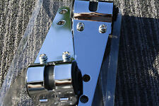 "Headlight Brackets CHROME 7"" Long Rubber Mount fork ears 30mm-39mm signal holes"