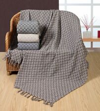 Mosaic Woven 100% Cotton Sofa / Bed Throw in 4 Colours 228x254cm