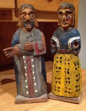 Pair of Santos Antique Wooden Hand Carved Religious Statues From Guatemala