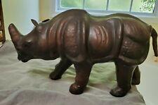 Leather Wrapped Rhinoceros Decor