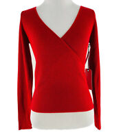 Leith Women's Red Cotton Blend V-Neck Long Sleeve Wrap Sweater Size XS NEW