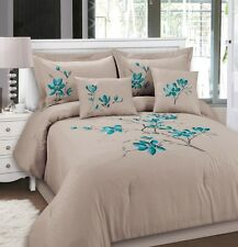Luxurious 5pcs King Emboss Embroided Comforter Set Latte and Blue tulips