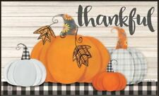 MatMate Door Mat Plaid Pumpkin thankful doormat recycled rubber non-slip 18x30