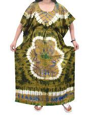 BOHO LADIES MAXI CAFTAN GREEN TIE DYE PRINT BOHEMIAN FASHION HOUSE DRESS XXXL