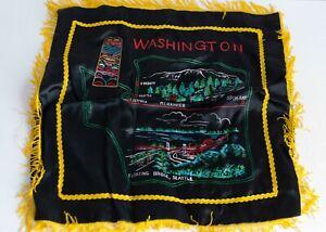 Vintage Souvenir Pillow Cover Sham Washington State Black Yellow Fringe Japan