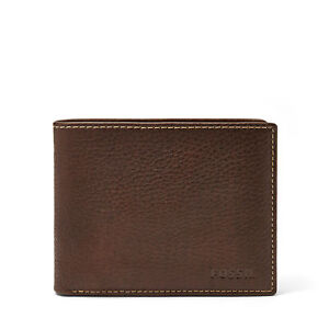 Fossil Men's LEATHER LINCOLN BIFOLD PASSCASE Wallet Brown ML3657200 a