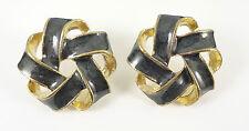 Gold Marble Black Elegant Weave Knot Fashion Jewellery Stud Earrings