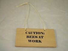 "CAUTION: BEES AT WORK - (HANGING 8""X4"") WOODEN PLAQUE SIGN - BEEKEEPING BEEHIVE"