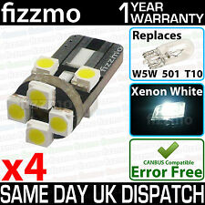 4x ERROR FREE CANBUS 8 SMD LED XENON HID WHITE W5W T10 501 SIDE LIGHT BULBS