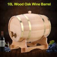 10L Oak Barrel Cask Wooden Storage Wine Brandy Whiskey Dispenser Keg W/ Stand US