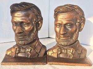 Abraham Lincoln Antique Bronze Verona Bookends President Statue Sculpture Bust