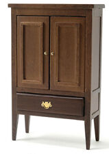 Miniature Dollhouse Armoire Walnut 1:12 Scale New