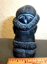 Hand crafted in Canada, Soapstone sculpture Beautiful Eskimo Child, 3 x 1.5 in