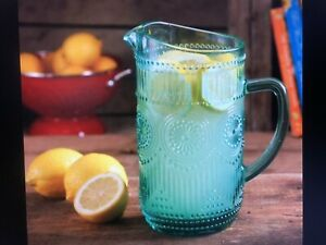 The Pioneer Woman Adeline Turquoise 1.59-Liter Glass Pitcher