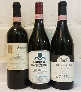 3 Flaschen echter Spitzen Barolo 1994, 1998, 2000