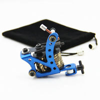 Steel Tattoo Coil Machine 10 Wraps Coils Tattoo Machine for Liner Shader Blue
