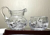 "Vintage Bohemian Czech Cut Crystal Whirling Star 2"" Sugar Bowl & 3.5"" Creamer"