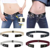 Unisex Business Elastic Buckle-Free Belt No Buckle Stretch Pants Waist Belts
