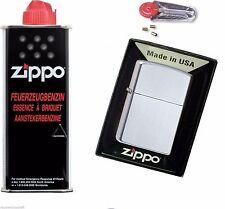 ZiPPO satin satinchrom 1022205 + 1 Zippo BENZIN + 6 Zippo Zündsteine 60000806