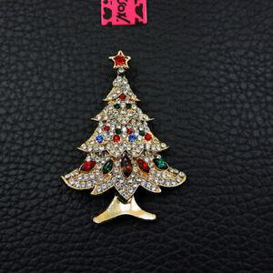 White Rhinestone Bling Christmas Tree Crystal Betsey Johnson Charm Brooch Pin
