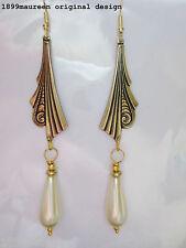 Art Deco earrings Art Nouveau vintage style pearl drop 1920s 1930 statement LONG