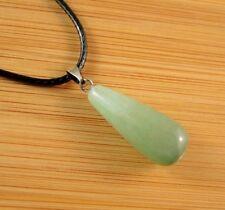 Green Aventurine Gemstone Tear Drop Pendant on a Black Cord Necklace #875