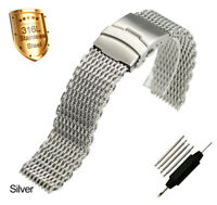 Mens Mesh Stainless Steel Bracelet Watch Strap Milanese Link Band 22mm 24mm