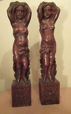 LARGE pair antique 1800s hand carved wood nude figure pillar furniture sculpture