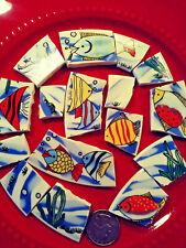 """ Whimsical Fish "" Broken China Plate Mosaic Tiles Multicolor Ocean Tropical #2"