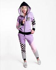 Tracksuit pink purple stripes hoodie trousers jogging running oldschool active