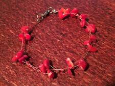 """7.5"""" WIRE bracelet. RED GEMSTONE CHIPS - RED GLASS BEADS - SILVER METAL CLASP(77"""
