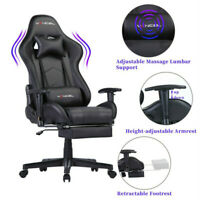 Office Chair Computer Gaming Chair with Footrest Lumbar Massage Support PC Chair