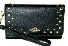 Coach F67500 Flap Phone Wristlet Wallet Border Studded Black Leather New $250