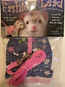 Ferret Toy Dog Fashion Jacket Style Harness Lead Blue & Pink with Flowers