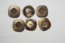8pc 18mm Bronze Brown Pearly Shell White Mock Shell 4 Hole Square Button 5486