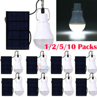 10x Portable Solar Power LED Bulb Lamp Outdoor Camp Tent Fishing Light 15W 350LM