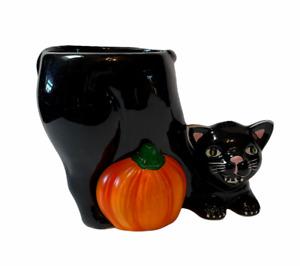 Black Cat Kitten Pumpkin Planter Halloween Figure