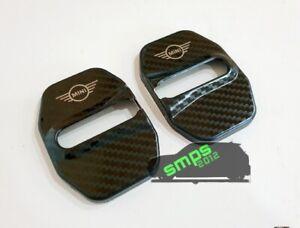 F56 Carbon Fiber effect Mini Logo Door Lock Covers Latch