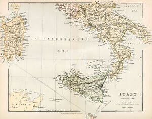 VINTAGE Maps Italy (Southern Part), William Mackenzie, 1880 #A958