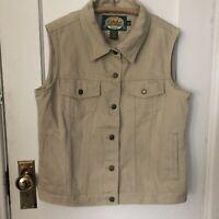 Cabelas Womens Vest Denim Size L Beige Sleeveless Trucker Jacket Hunting Chore