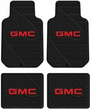 (4) Front & Rear GMC LOGO Floor Mats Rubber All Weather Factory Liners Black Red