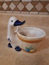 Blue and White Duck Ceramic Planter Home Decor Made in USA