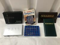 Spears Vintage Magnetic Scrabble Travel Bundle 3 Games Connect 4 Playing Cards