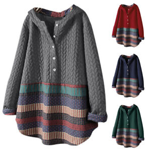 Plus Size Women Striped Long Sleeve Hoodie Hooded Casual Buttons Loose Top Tunic