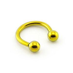 GOLD TITANIUM Internally Threaded Horseshoe Bar Circular Barbell Lip Nose Septum