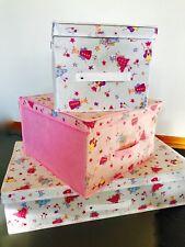 NEW LAURA ASHLEY FAIRY PRINCESS GIRLS 3 Storage Organiser Boxes SET Pink White
