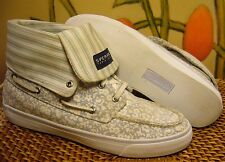 SPERRY TOP-SIDER Abacos High Top Boat Shoe Women 8.5 M Floral/Stripe Canvas
