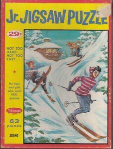 Vintage 1950s era Whitman Jr. Jigsaw Puzzle - Snow Skiing - Series No. 301