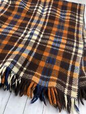 New listing Vintage Plaid Wool Throw Blanket With Fringe Brown & Orange