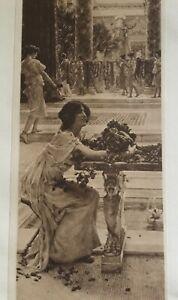 ANTIQUE PRINT 1901 ROSES, LOVE'S DELIGHT BY SIR LAURENCE ALMA-TADEMA PAINTING